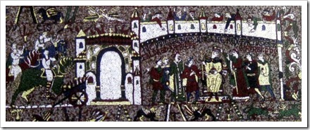 A small segment of the Geraldine recreation of the Bayeux Tapestry.