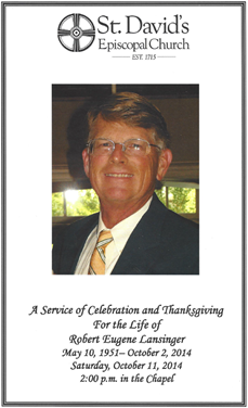 Bob Lansinger Memorial Program