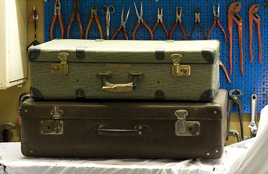 Vintage Suitcases before Paint