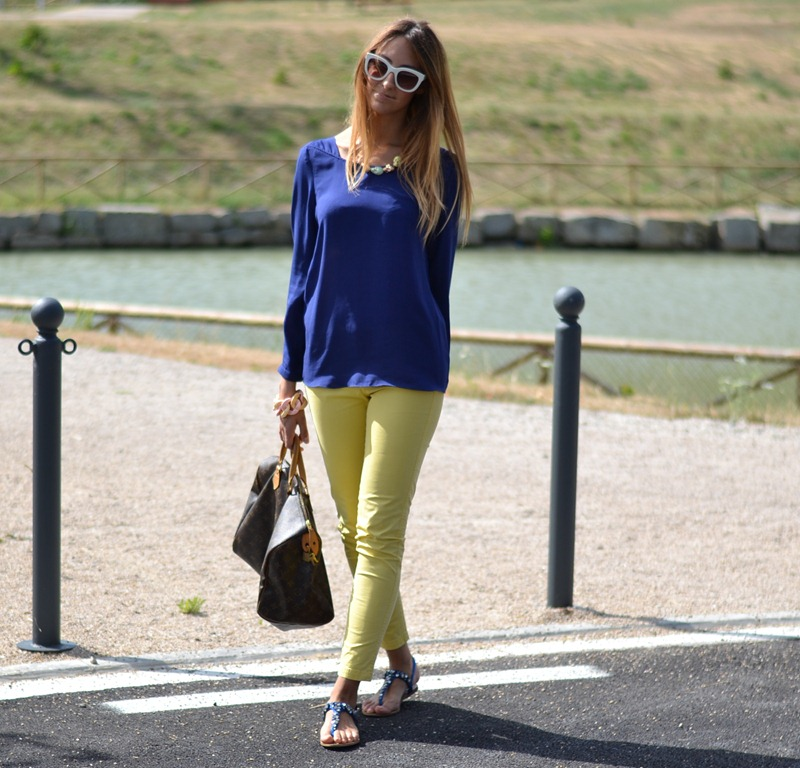 Royal blue, Mango, Zara, Mango pants, Mango trousers, Mango yellow, Zara royal blue, Zara blouse, Zara sunglasses, Top Shop