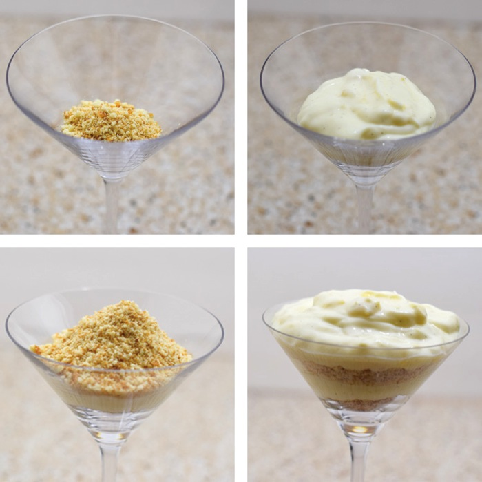 How to assemble a pineapple parfait in a party glass