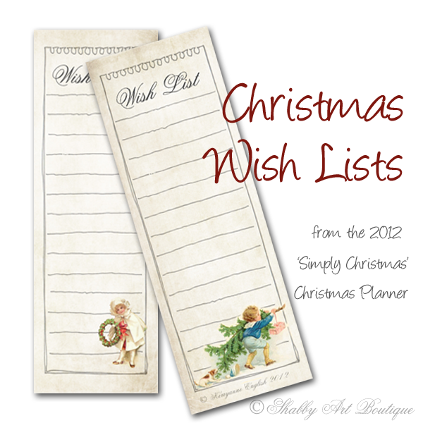 Shabby Art Boutique Christmas Planner - wish lists