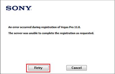 Clique em Retry - Sony Vegas