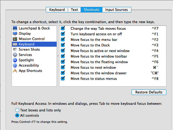 Keyboard shortcuts pref pane