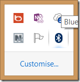 Windows System Tray showing Bluetooth icon