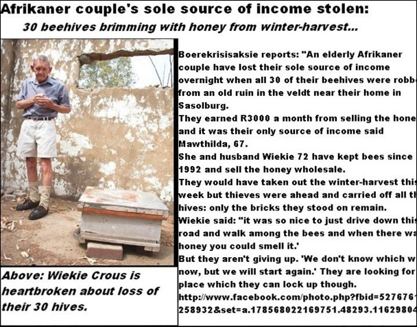CROUS Beekepers Mathilda 67 and Wiekie 72 all 30 hives looted lose their income Vaalpark Sasolburg