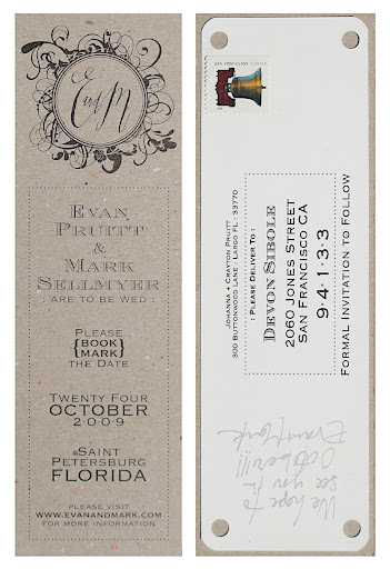 Evan designed the save the dates, which were book marks.
