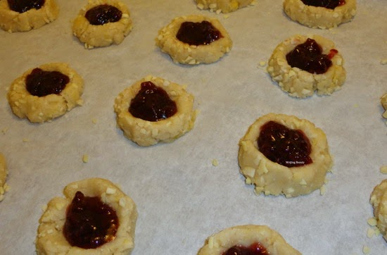 Raspberry Almond Thumbprint Cookies 1