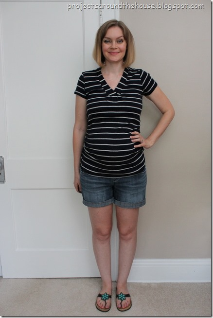 striped shirt, shorts