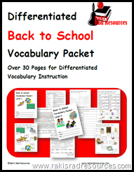 Teach Vocabulary to all levels of English Language Learners with this free week-long vocabulary packet