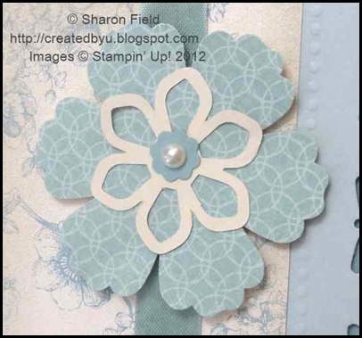 blossom punched dsp, blossom die cuts and bitty punched accent with pearl