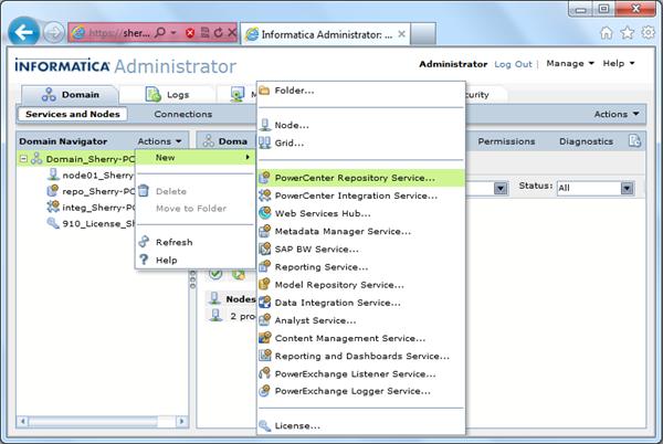 Informatica Admin Console