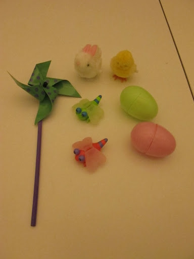Here's a pinwheel, wind-up bunny and chick as well as these cute dragonfly toys and some colorful eggs.