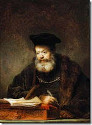 Scholar at his Writing Table by Rembrandt
