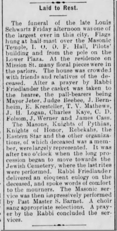 Schwartz Louis Laid to Rest Santa Cruz Sentinel 27 May 1893