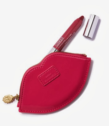 Lulu Guinness Lip Coin Purse with Super Strawberry - High Res