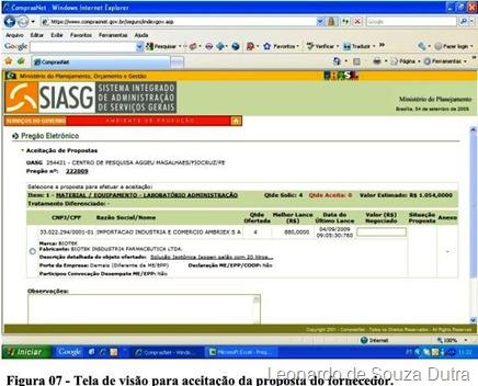 Comprasnet.gov.br - tela de visão para aceitação da proposta do fornecedor