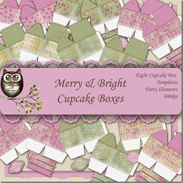 Merry & Bright Cupcake Box Front Page