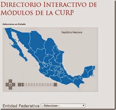 Directorio virtual interactivo de modulos de la curp en toda la republica Mexicana