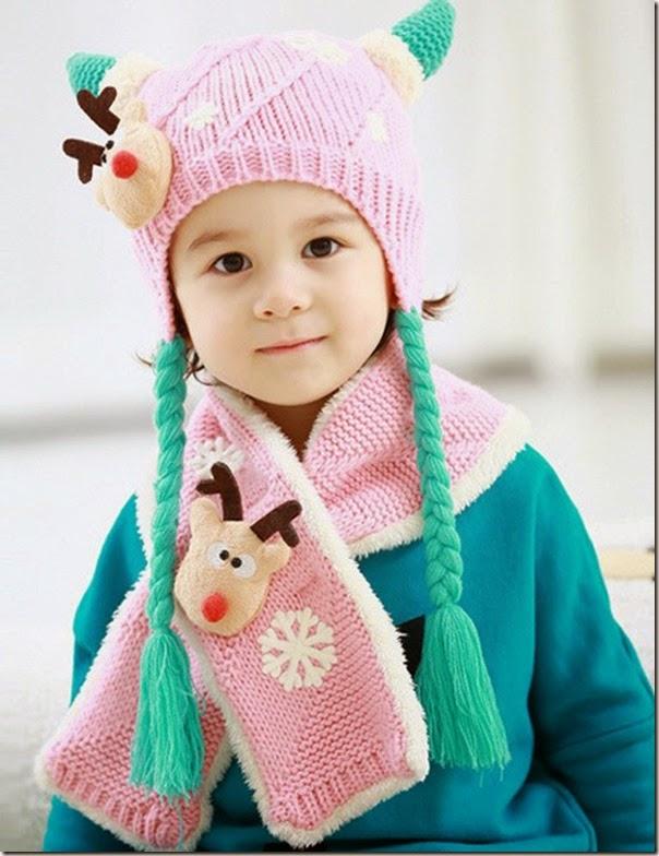 可愛兒童冷帽圍巾套裝_2