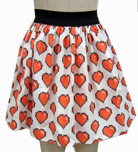 8 Bit Heart Full Skirt from Go Follow Rabbits
