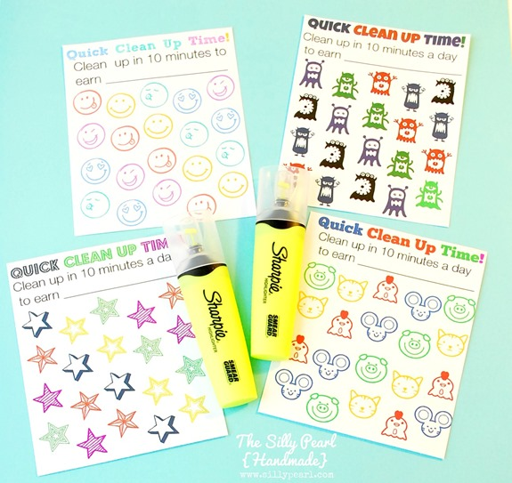 Quick Clean Up Time Printables for Kids - The Silly Pearl
