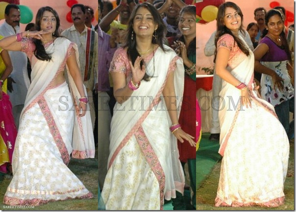 Nikitha_White_Half_Saree
