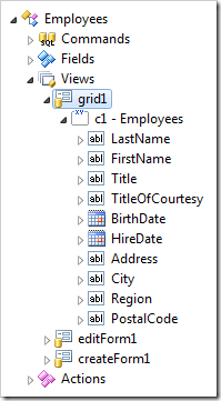 The grid has been converted into a form. All data fields have been placed in a category.