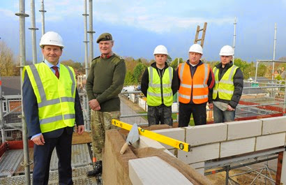 Persimmon plc group CEO Jeff Fairburn with Brigadier Greville Bibby and new ex-services recruits Martin Hughes, Ross Wilson and Luke Daly.