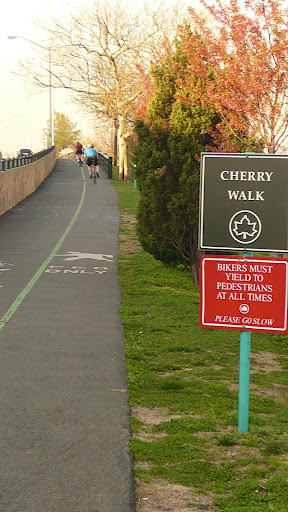 The start of Cherry Walk, the curving path adjacent to the West Side Highway.