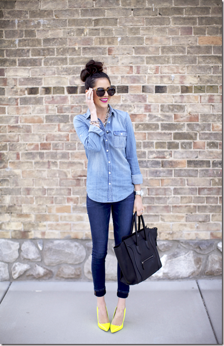 how-to-wear-double-denim-trend-pink-peonies