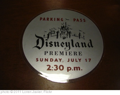 'Original July 17, 1955 Disneyland Parking Pass on display at the Walt Disney Archives' photo (c) 2011, Loren Javier - license: http://creativecommons.org/licenses/by-nd/2.0/