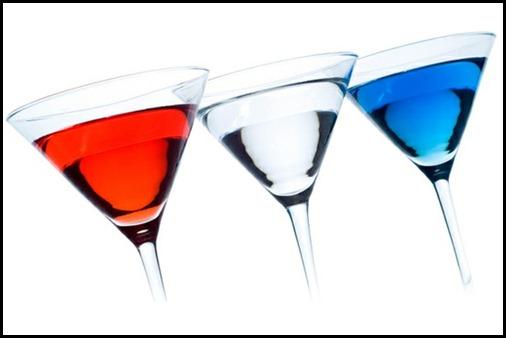 red white blue martinis