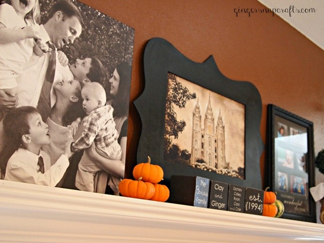 Ginger Snap Crafts: My Fall Mantel with LDS Wall Art {giveaway & review}