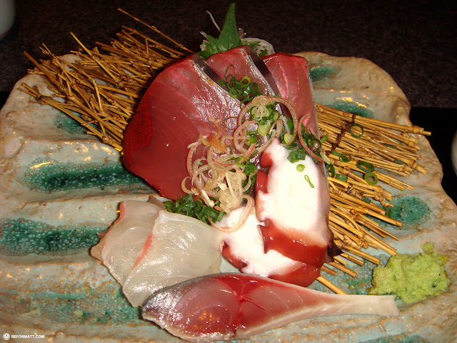 fresh sashimi at the hotel's restaurant in Shinjuku, Tokyo, Japan