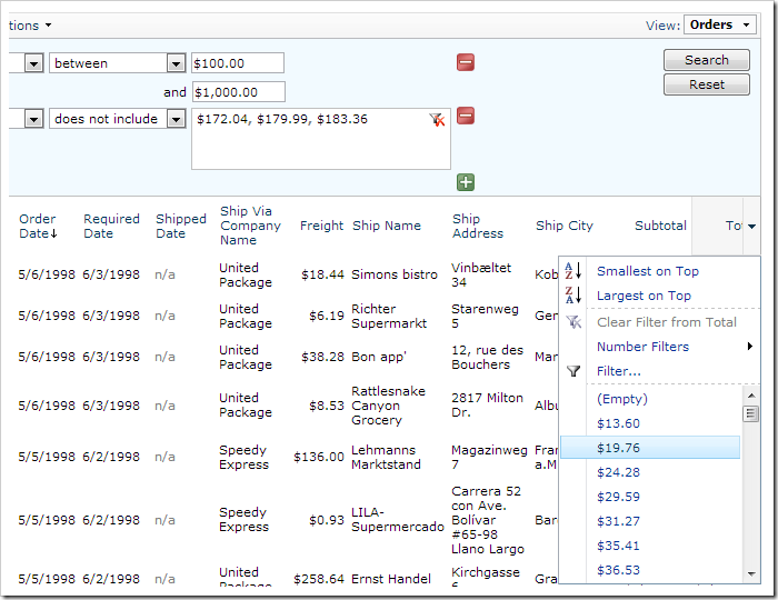 Subtotal and Total column header dropdowns are now enabled.