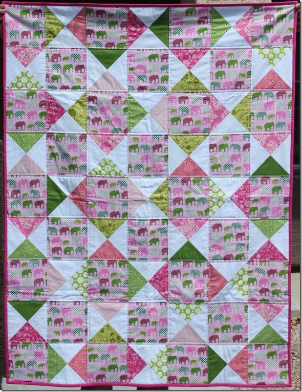 Pink and Green Elephant Quilt