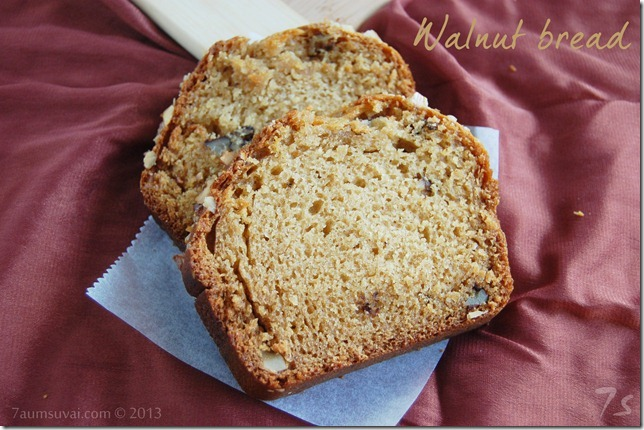 Eggless walnut loaf bread