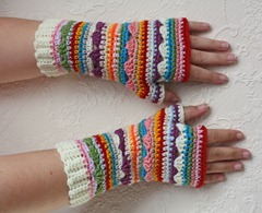 406 - Yellow Cuff Boho Fingerless Gloves (1)