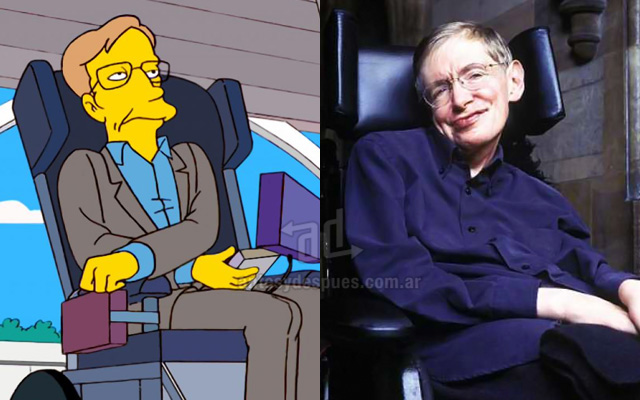 Foto de la version Simpson de Stephen Hawkings