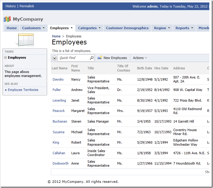 Employees page of a Code On Time web application using Social theme.