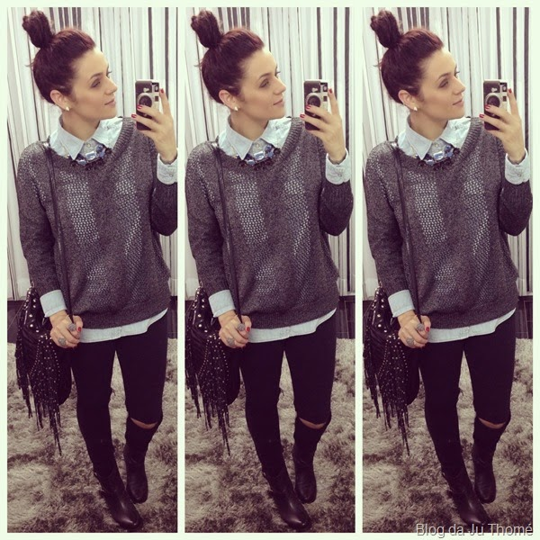 look jeans rasgado, camisa jeans e tricô (2)