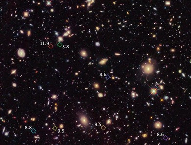 galáxias primitivas formadas logo após o Big Bang