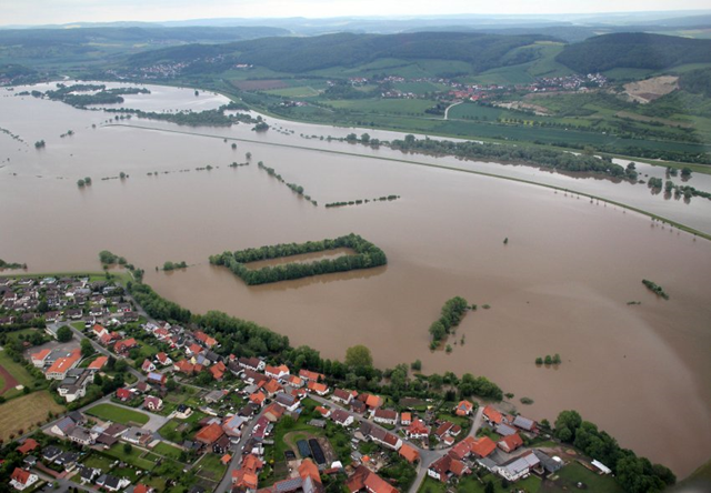 Heavy rain hit Germany during the week of 26 May 2013 and left large parts of the country flooded, mainly in the northern state of Lower Saxony and in the south near the Alps. Here, an aerial view of highwater near the town Drüben in Lower Saxony. There have been several severe weather warnings across the country throughout the week. Photo: Spiegel