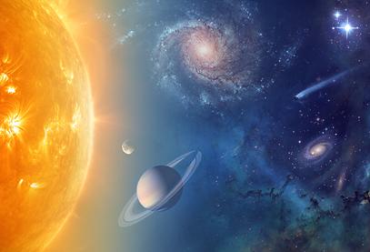 ilustração do Sistema Solar e além