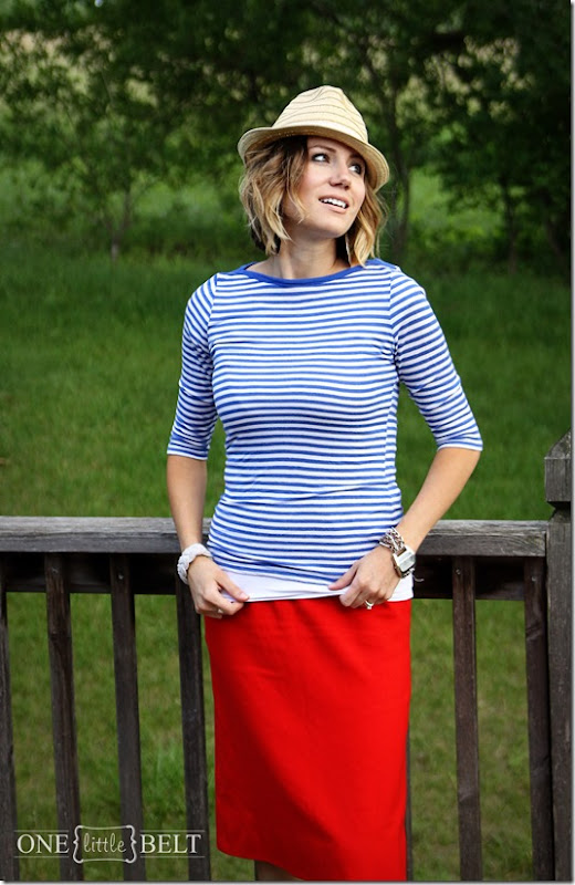 red pencil skirt, blue and white stripes, fedora