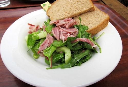 Ham hock, cucumber and broad bean salad, honey and mustard dressing, our own brown bread