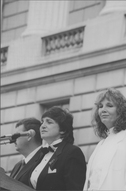 Robin Tyler and Pat Harrison get married on the steps of the Justice Department at the March on Washington. 1993.
