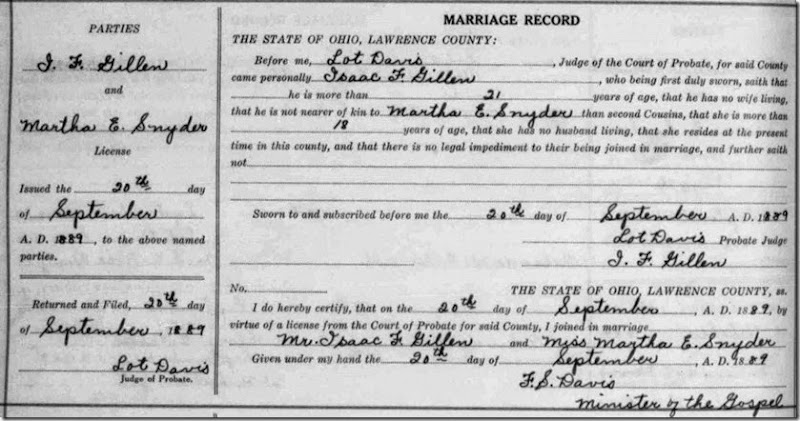 GILLEN_Isaac F marriage to Martha SNYDER_20 Sep 1889_Lawrence Co Ohio_cropped