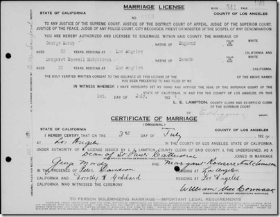 Front side of a California marriage record